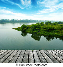 The platform of the small river - The wooden structure of...