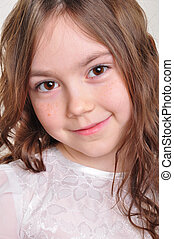 pretty 8 year old girl in white dress - portrait of a pretty...