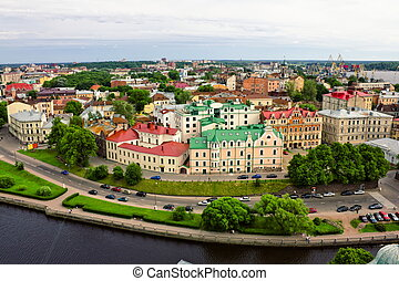 View on the roofs of Vyborg from the height of bird flight