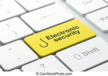 Protection concept: computer keyboard with Fishing Hook icon and word Electronic Security, selected focus on enter button, 3d render