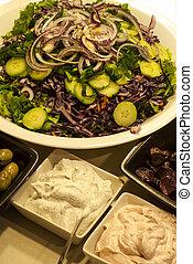 Salad dish, olives, caviar - Mixed salad dish, olives,...