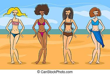 beautiful women in bikini or swimsuit