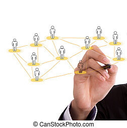 Businessman hand drawing a social network scheme on a...