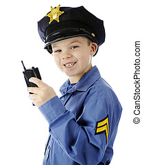 Walkie Talkie Cop Closeup - Closeup image of a happy young...