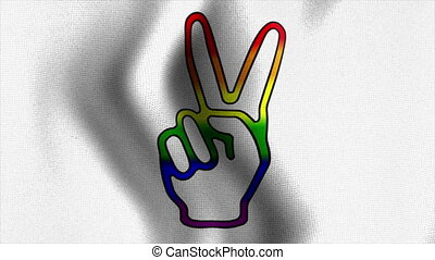 rainbow victory sign waving flag - Rainbow Flag Series 1: A...