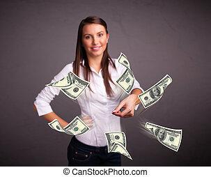 joven, niña, lanzamiento, dinero