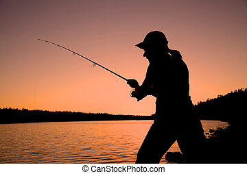 Woman Fishing in Sunset