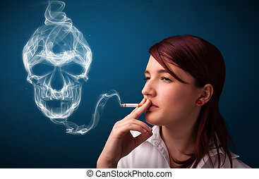Young woman smoking dangerous cigarette with toxic skull...