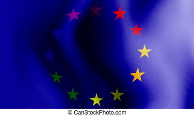 waving rainbow euro flag