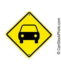 Car Traffic sign on a white background