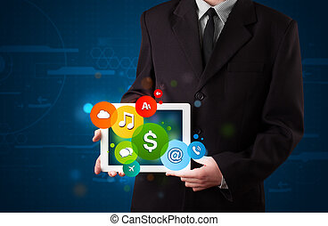 Businessman presenting colorful modern signs