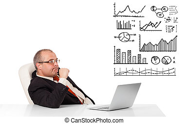 businessman sitting at desk with graphs and laptop, isolated...
