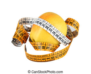 Diet concept with green apple wrapped with measuring tape