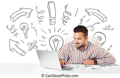 Young businessman brainstorming with drawn arrows and...