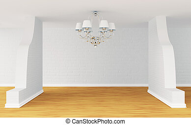 Empty room with alone luxurious chandelier