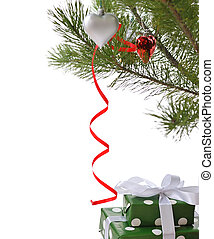 gift boxes under Christmas tree - gift boxes ornated with...