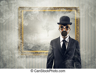 Nuclear War - Nuclear war Portrait of man with gas mask