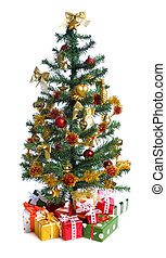 decorated Christmas tree with heap of gifts. isolated on...