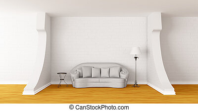 White couch, table and standard lamp in modern gallerys hall...