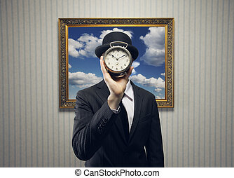 Time concept - Businessman with a Clock for his Face