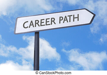 Career path street sign - Road sign labelled with career...