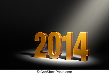 New Year 2014 - Gold 2014 on dark stage, brightly...