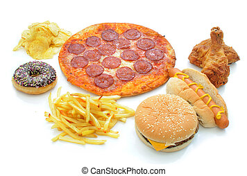 Fast food collection - Various types of fast food on a white...
