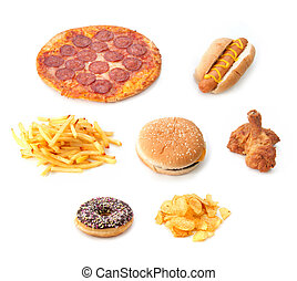 Fast food set - Various types of fast food on a white...