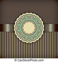 Retro Brown Background with Ornamental Frame and Ribbon,...