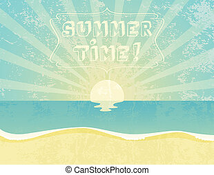Summer Time - Summer grunge textured background with Summer...