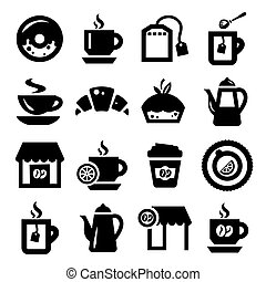 coffee and tea icons set - Elegant Coffee And Tea Icons Set...