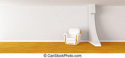 alone white armchair in modern minimalist interior