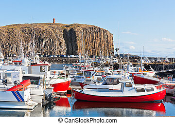 The town of Stykkisholmur, Snaefellsnes peninsula, Iceland -...