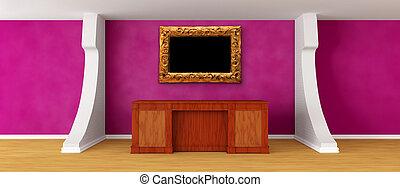 Modern purple reception with ornate frame