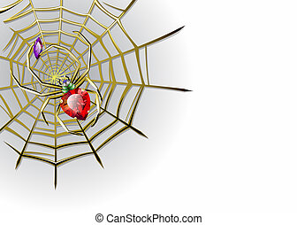 Vector white background with jewelry spider on the gold web...