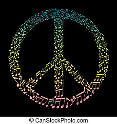 musical notes in peace symbol