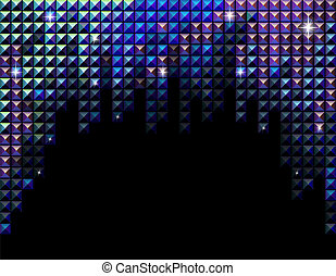 Vector horizontal blue rhinestone mosaic background - Vector...