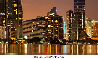 Time Lapse - Miami Skyline at dusk - Time lapse pan of the...