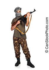 terrorista, automático, arma, branca, fundo