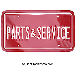 Parts and Service License Plate Automotive Car Repair Shop -...