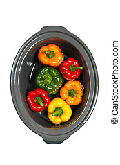 Slow cooker - Stuffed Bell Pepper in a Slow-cooker, ready to...