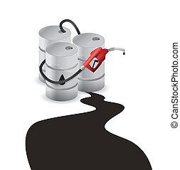 aceite, barril, derramar