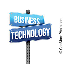business technology sign illustration design over a white...