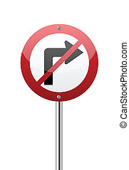 Do not turn right traffic sign on white