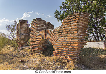 ancient ruins in red brick
