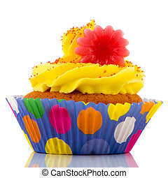 Colorful cupcake with yellow butter cream