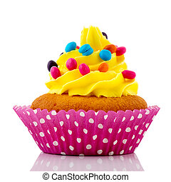 Birthday cupcake with confetti