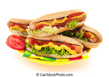 Hotdog with bread roll - Hotdog and bread roll isolated over...