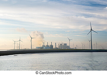 Industrial harbor with wind turbines - Industrial harbor...