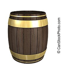 wooden gold Barrel isolated on white withe background